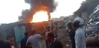 huge fire broke out at a warehouse at Sonarpada in Dombivali