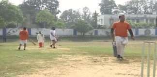 A unique cricket match dressed in dhoti-kurta