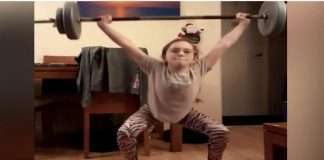 10 year old girl is surprised to see weight lifting video dreams of going to olympics