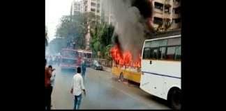 private school bus catches fire in malad