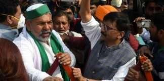 Sanjay Raut meets farmer leader Rakesh Tikait