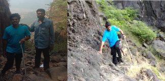 Lingana fort successful climb by Chaitanya Kulkarni, a disabled youth from Ahmednagar