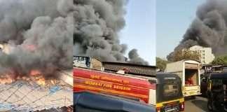 Massive fire breaks out a scrap godown in Kurla area