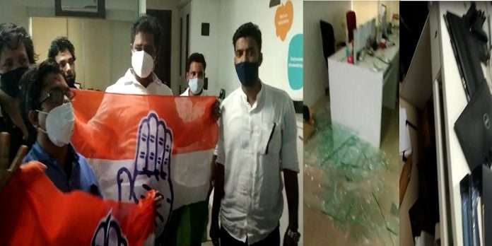 Congress workers vandalize Storia office for making advertisements mocking Rahul Gandhi