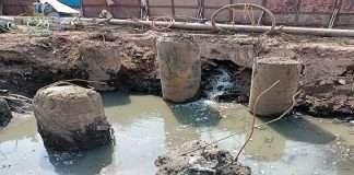 In Sambhaji Nagar, Thane, while constructing the pillar of the metro, the nala was filled