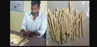 eco friendly pen corn husk prevents-stubble burning sustainable zero waste innovation raju mupparupu in telangana