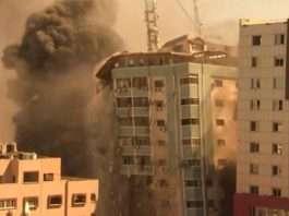 Gaza Attack Israeli Airstrike In Gaza Destroys Media tower housing