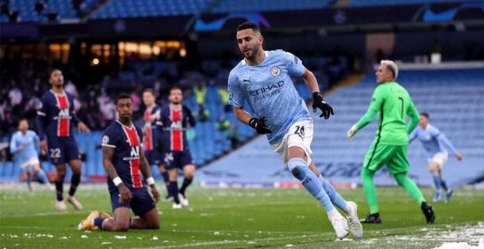 riyad mahrez scores two goals as man city beat psg