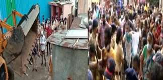 Pune police action over illegal contraction local people aggressive