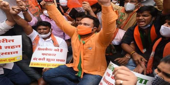 shivsena bjp activist clash outside mumbai dada shiv sena bhavan over ayodhya ram temple construction land scam