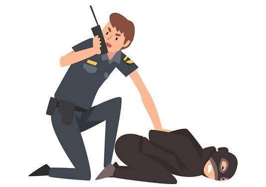 Policeman Caught Criminal, Police Officer Arrested Robber Vector Illustration
