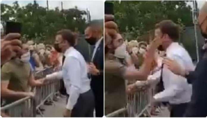 VIDEO: Unidentified man slapped French president Emmanuel Macron, two people arrested Macron slapped