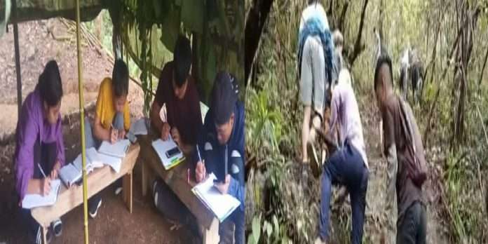 Students in Mizoram climb hills in search of a network to take online exams