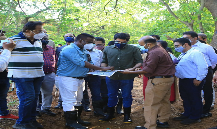 Aditya Thackeray inspects the work of bicycle and jogging tack in Powai Lake area