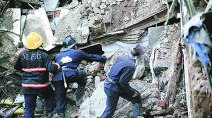 Part of the building collapsed at Kamathipura