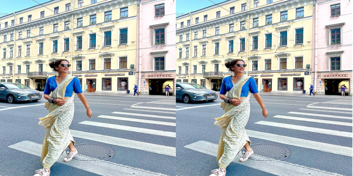 Wandering on the streets of Russia.. in sari, shoes, goggles