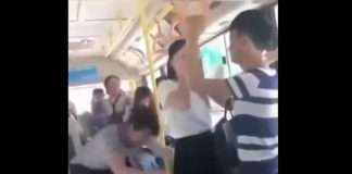 person was sleeping in the bus he got the shock and fell on the woman watch viral video