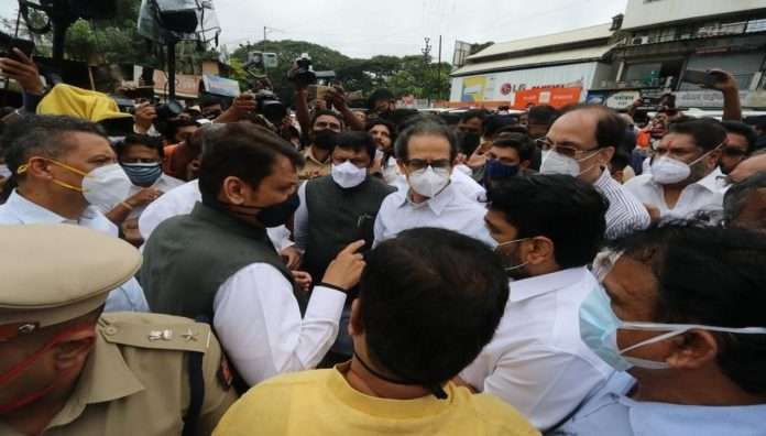 CM Uddhav Thackeray and LOP Devendra Fadnavis jointly inspected the flood-hit Kolhapur
