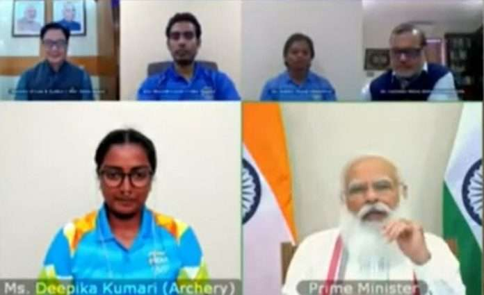 PM Modi interacts with India's Tokyo Olympics-bound athletes