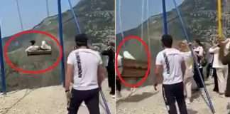 women fall off 6300 ft cliff while taking a swing ride in viral video