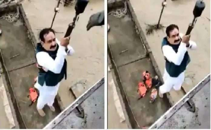 Helicopter rescues home minister Narottam Mishra during flood relief