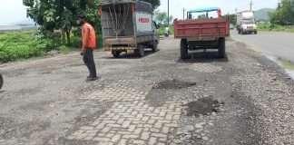 Bad condition of Chinchoti Mankoli road in Bhiwandi Temporary repairs to the road