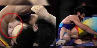 kazakistan wrestler takes bites on arms of Ravi Dahiya