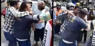 Fighting between cleanup marshal-citizens