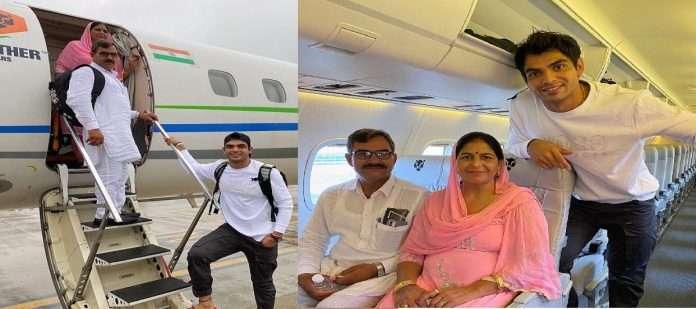 Neeraj chopra travel with parents