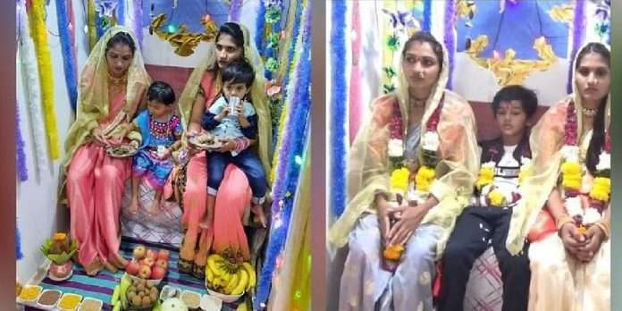 washim gauri ganpati 2021 special mother law worshiped her two daughter laws glory