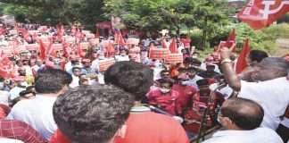 Shekap agitation for Alibag-Ramraj-Roha road