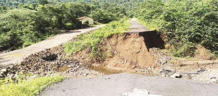 The Mahad-Warangi road was severely damaged in the floods
