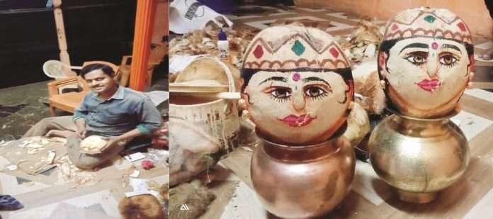 Alibaug's deaf-mute sanjeev more sculpting idol on coconut for Navratri