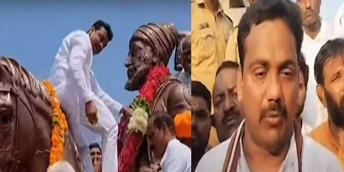 NCP MLA Raju navghare controversy video viral riding horse to garland the statue of Shivaji Maharaj