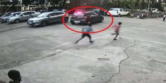 car crashed on 9-year-old child in pimpri chinchwad incident caught in cctv