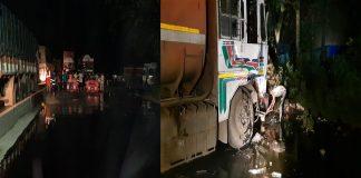 Ghodbunder Road blocked by furnace oil