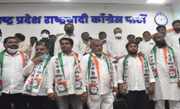 MIM Five corporators join NCP in presence of ajit pawar jayant patil